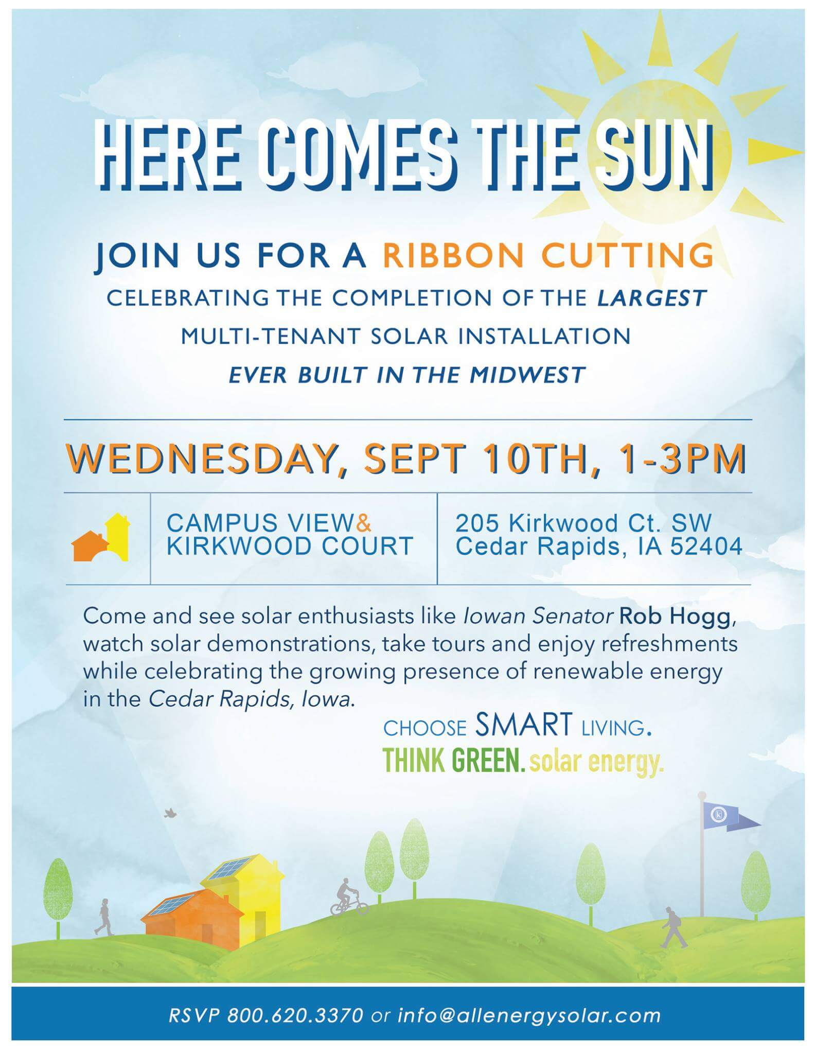Here Comes the Sun! Kirkwood Courts Apartments Solar Ribbon Cutting on 9/10 from 1-3 pm.